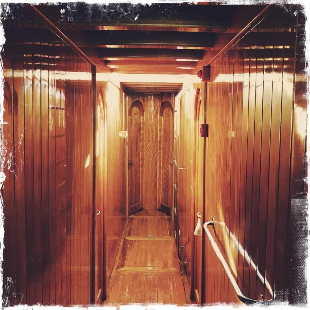 wood panelling in ship