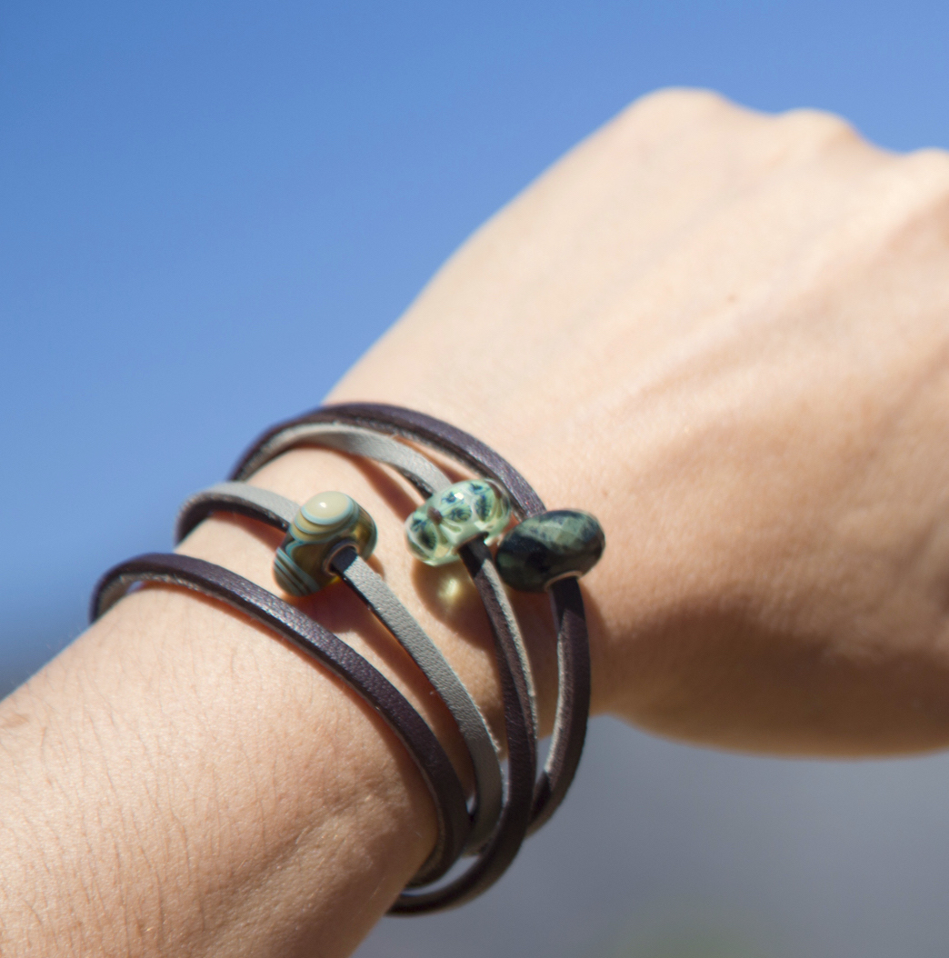 I Decided Wanted It To Reflect My Love For Nature So Opted A Leather Bracelet Green Stones And Fish Clasp
