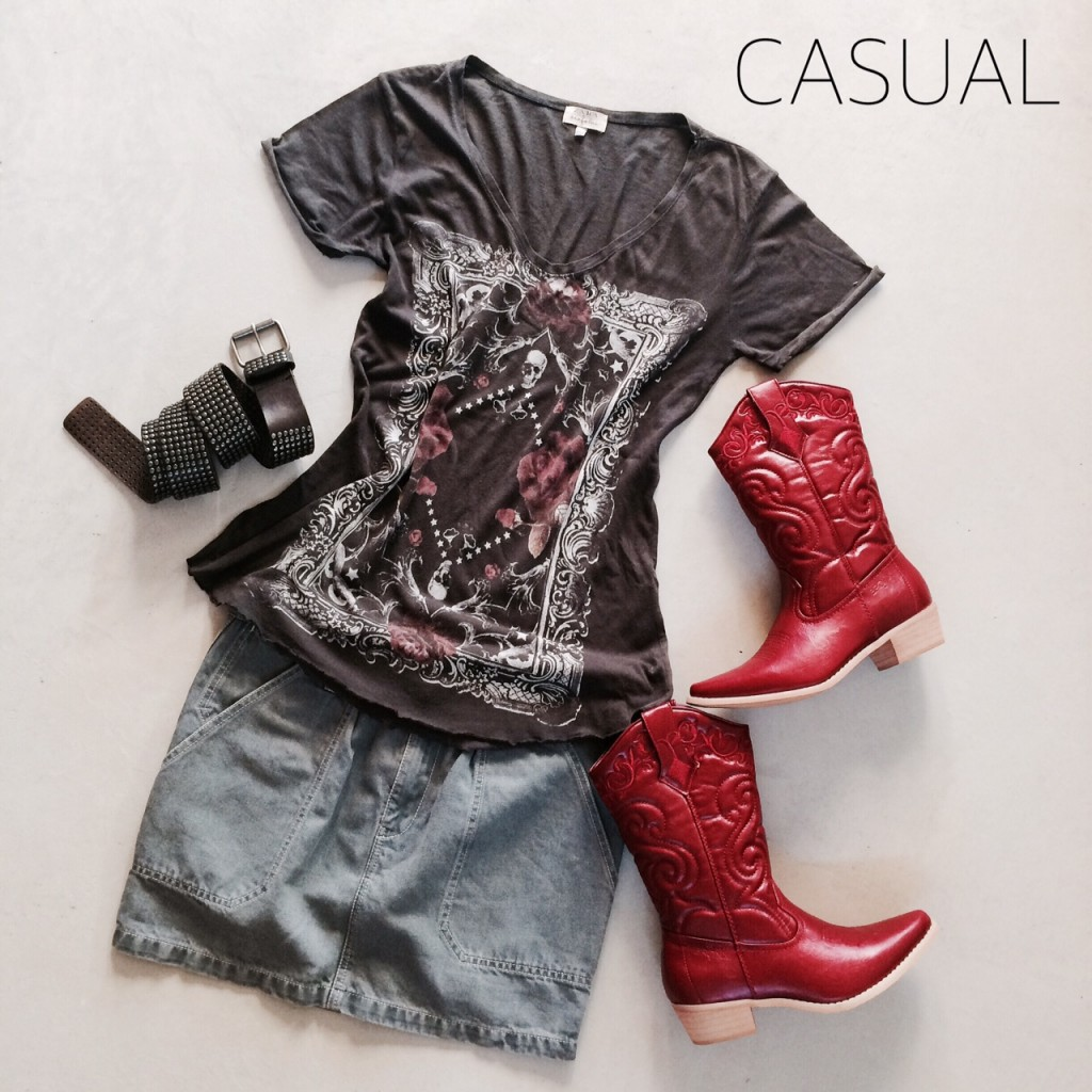 red boots casual